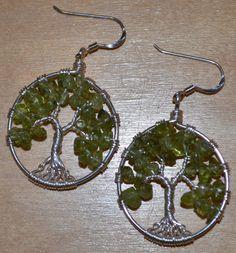 Sterling Silver & Peridot - Tree of Life Earrings $50