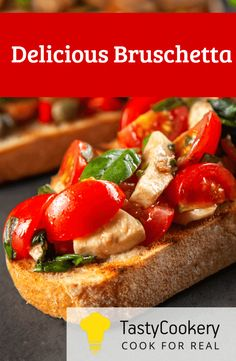 Delicious Bruschetta In 2019 Italian Bruschetta Recipe Mushroom Bruschetta Recipe, Italian Bruschetta Recipe, Appetizer Recipes, Snack Recipes, Appetizers, Snacks, Bread Recipes, Cooking Food, Cooking Recipes