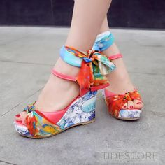 Floral Line Style Buckle Wedge Sandals . $20.09. Floral Line Style Buckle Wedge Sandals