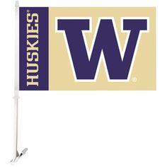 Ncaa 11 in. x 18 in. Washington 2-Sided Car Flag with 1-1/2 ft. Plastic Flagpole (Set of 2)