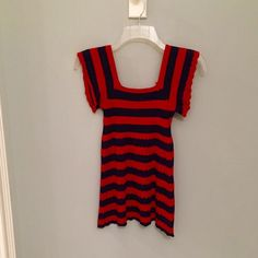 Red and Navy Knit Tank Top Nordstrom - Knit tank top. Red and navy striped. Perfect for summer with white pants! Sleeves are tank, but flowy. Bodice at top is stretch material to give more of a fitted look, then the rest is knit/eyelet material to give it a breezy vibe. Zara Tops Tank Tops