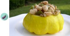 Great northern beans are seasoned with bold Cajun spices as well as sausage-like seasonings of fennel and sage to make stuff these fresh patty pan squash.
