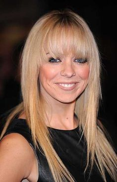 Liz McClarnons long straight hairstyle with bangs