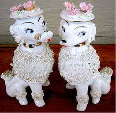 Vintage Pair of Lovely Ladies! Spaghetti Poodle Dog Figurines with Floral Hats