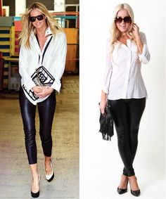Pair a white blouse over a faux leather leggings for a classic look!