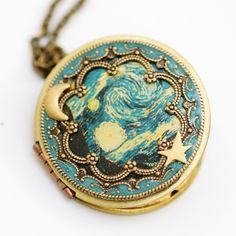 Locket, Moon and Star Locket,Photo Locket, Wedding Necklace,The Starry Night - Vintage Locket,bridesmaid gift locket necklace,Moon,Star. $69.99, via Etsy.