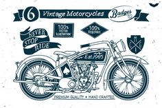 6 Vintage Motorcycles Badges by PaperBat on Creative Market