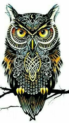 Owl of the Zodiac Ink and Water Color Print by PaintingsOfPeace Owl Tattoo Drawings, Tattoo Sketches, Art Drawings, Owl Tattoo Design, Tattoo Designs, Buho Tattoo, Owl Artwork, Owl Wallpaper, Owl Pictures