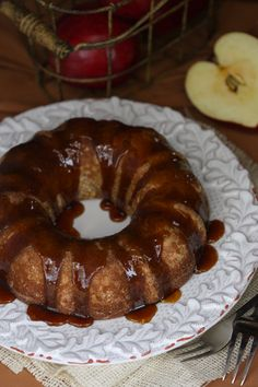 Apple Spice Cake with Maple Candy Glaze -- gluten-free, dairy-free