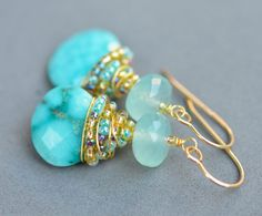 Natural Sleeping Beauty Turquoise and Aqua Blue Chalcedony Gold Wire Wrapped Earrings with Seed Beads