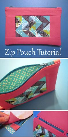 This pouch is perfect for a sister, friend or child. Zip Pouch Tutorial, Purse Tutorial, Pouch Pattern, Bag Patterns To Sew, Small Bags, Fabric Scraps, Sewing Hacks, Bag Making, Purses And Bags