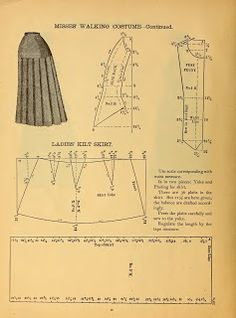 What We Did When The Power Went Out (Sewing In Walden): Misses' Walking Costume 1888 Kilt skirt pleats Victorian pattern Doll Dress Patterns, Costume Patterns, Clothing Patterns, Skirt Patterns, Coat Patterns, Blouse Patterns, Pattern Cutting, Pattern Making, Patron Vintage