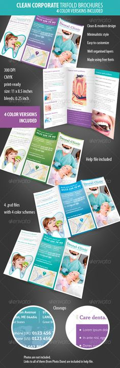 Clean Corporate / Dental Clinic Trifold Brochure