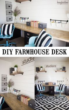 Love this farmhouse desk?  You can make it for less than $200! Home Office Space, Home Office Design, Home Office Decor, House Design, Office Ideas, Desk Office, Ikea Office, School Office, Office Storage Ideas
