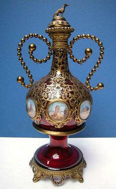 Bohemian Glass Decanter w Bronze Ormolu Paintings of Paris C 1860   eBay
