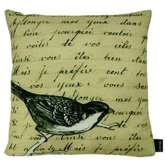 Feather-filled pillow with a French script motif and bird detail.