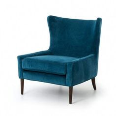 Shop this four hands kensington bella bayoux marlow wing chair from our top selling Four Hands living room chairs. LuxeDecor is your premier online showroom for living room furniture and high-end home decor. Blue Velvet Chairs, Blue Accent Chairs, Green Velvet, My Living Room, Living Room Chairs, Dining Chairs, Lounge Chairs, Dining Room, Office Chairs