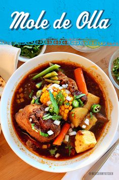 """Nothing says """"tradición"""" like a big bowl of Mole de Olla. Keep it delicious and authentic with Rumba Meats oxtail and beef hind shank! Mexican Dishes, Mexican Food Recipes, Beef Recipes, Vegetarian Recipes, Chicken Recipes, Cooking Recipes, Healthy Recipes, Mole, Good Food"""