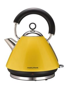 Morphy Richards Lemon Yellow Accents Traditional Kettle from Domayne Online Traditional Kettles, Kettle And Toaster, Dish Drainers, Cord Storage, Yellow Accents, Restaurant, Shades Of Yellow, Mellow Yellow, Colors