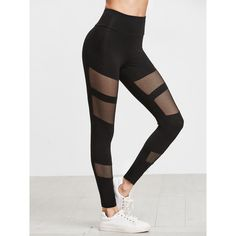 SheIn(sheinside) Black Fishnet Insert Leggings (605 DOP) ❤ liked on Polyvore featuring pants, leggings, stretchy leggings, fishnet leggings, stretch leggings, legging pants and stretch pants