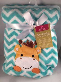 New! Belle Baby Boy Blanket Soft Chevron Giraffe Teal Blue Gift Shower Nursery #Belle