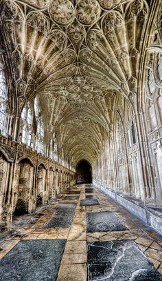 Corridor, Gloucester Cathedral, to Cloisters Architecture Antique, Art Et Architecture, Cathedral Architecture, Beautiful Architecture, Beautiful Buildings, Architecture Details, Beautiful Places, Die Renaissance, Gloucester Cathedral