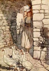 Arthur Rackham - one of two colour illustrations for 'The Goosegirl' from the 1909 Edition of ''The Fairy Tales of the Brothers Grimm''
