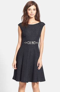 Free shipping and returns on Eliza J Embellished Glitter Fit & Flare Dress at Nordstrom.com. Shimmery glitter and eye-catching embellishments brighten a lovely textured cocktail dress cut with a feminine silhouette.