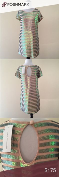 """French Connection Sequin Short Sleeve Dress NWT!  Sparkle and shine in this beautiful sequined dress from French Connection.  Champagne/nude dress with iridescent sequin stripes all over.  Scoop neck.  Back keyhole button closure.  100% Viscose/Rayon.  Approximate shoulder to hem length is 35"""". French Connection Dresses"""
