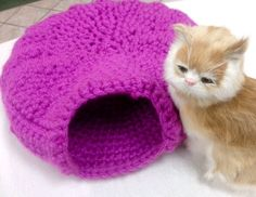 Your cat will love to curl up in this cozy cave.