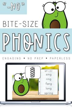 "Frustrated by a lack of engaging phonics resources? Need something quick, no prep, and paperless? Bite-Size Phonics is for you! Each Bite-Size pack addresses one ""chunk"" with short, engaging lessons and routines that you can easily incorporate into your current reading program to enhance your phonics instruction. This pack focuses on the -NG blend - segmenting, blending, spelling, syllabification, and rhyming activities are included! Reading Games, Teaching Reading, Home Learning, Student Learning, Morning Activities, Phonics Lessons, Spelling Practice, Rhyming Activities, Rhyming Words"