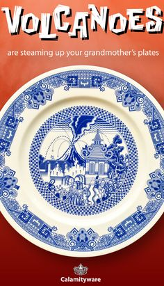 Calamityware produces fine porcelain willow-style plates with subtle, silly, calamities like flying monkeys, UFOs, giant robots and, this time, a rambunctious volcano.