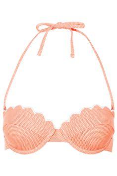Tangerine scallop bikini top - Topshop