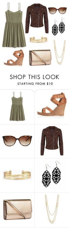 """Army green with brown and gold"" by genevamq on Polyvore featuring Topshop, Tiffany & Co., Miss Selfridge, Stella & Dot, H&M and Gorjana"
