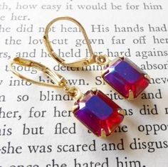 Vintage Glass Rhinestone Earrings in by SecondEditionJewelry, $16.00