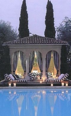 Pool House with black and white curtains, cushions. I want a pool so bad. I need to start saving money as I want a big pool. Pool Cabana, My Pool, Outdoor Rooms, Outdoor Living, Outdoor Curtains, Outdoor Decor, Outdoor Ideas, Living Pool, Gazebos