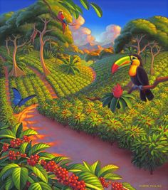 Purchase prints from Robin Moline. All Robin Moline prints are ready to ship within 3 - 4 business days and include a money-back guarantee. Caribbean Art, Vintage Poster, Collaborative Art, Tropical Art, Naive Art, Coffee Art, Whimsical Art, Bird Art, Landscape Art