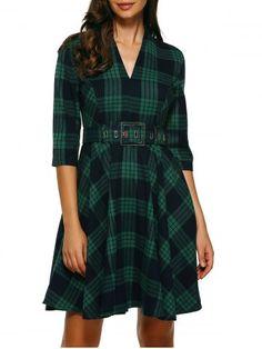 Retro Knee Length Flare Plaid Dress