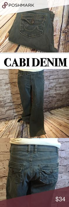 """‼️WEEKEND SALE PRICE‼️CABI DISTRESSED WASH JEANS Love these. They are super soft denim with some stretch. A distressed wash and utility style back pockets. Inseam 29.5"""" waist 16"""" lying flat CAbi Jeans"""