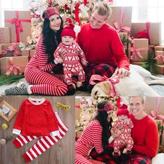 38df55a8eb Family Matching Christmas Pajamas Set Men Women Baby Kids Sleepwear  Nightwear Family Holiday Pajamas