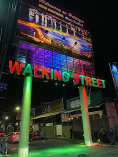 The new Walking Street sign, Pattaya, Thailand Pattaya Thailand, Walking Street, Street Signs, Night Life, Times Square, Places, Travel, Viajes, Destinations