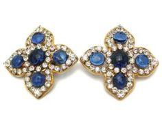 Chanel Vintage clip on Earrings blue gripoix glass rhinestone flower