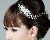 White Pearls Crystals Floral Vine Bridal Comb - Light Ivory Cream Swarovski Rhinestone Silver Wedding Gifts Hair Accessory for Bride H16. $66.00, via Etsy.