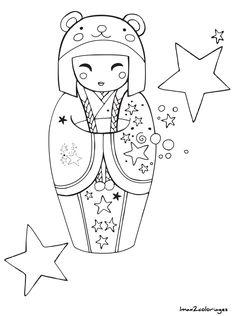 IColor Kokeshi Dolls Etcetc Japonaise Asian QuiltsAdult ColoringColoring Pages