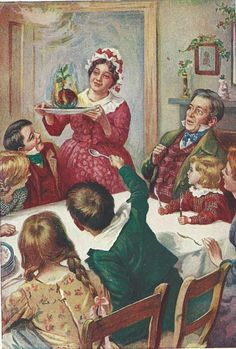 """A Christmas Carol by Charles Dickens """"Bob Cratchit's Christmas Dinner"""" by Harold Copping Vintage Christmas Images, Victorian Christmas, Christmas Pictures, Retro Christmas, Primitive Christmas, Country Christmas, Outdoor Christmas, Christmas Scenes, Christmas Past"""