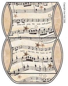 Vintage Sheet Music Free Clipart Biege Tan - Printable Gift Boxes #DIY #CRAFTS