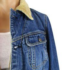 9a46ee31 Tommy Hilfiger Women's Blue Denim Jean Jacket Sherpa Lined Trucker Coat  Medium