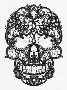 Craft a dark and lovely look with this lace-patterned skull stitched onto your favorite fabric.: