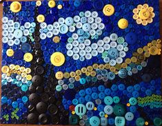 Button Van Gogh's Starry Night by RusticButton on Etsy Starry Night Art, Starry Nights, Vincent Willem Van Gogh, Painted Vans, Van Gogh Art, Van Gogh Paintings, Button Art, Recycled Art, Art Club