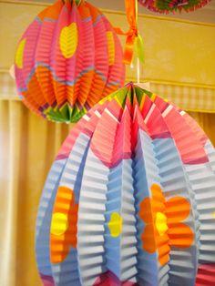 2012 Easter Decorations @ Home - Easter Egg Honeycomb Lanterns